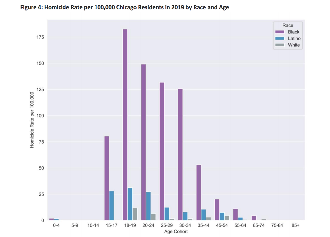 Homicide rate by age and race