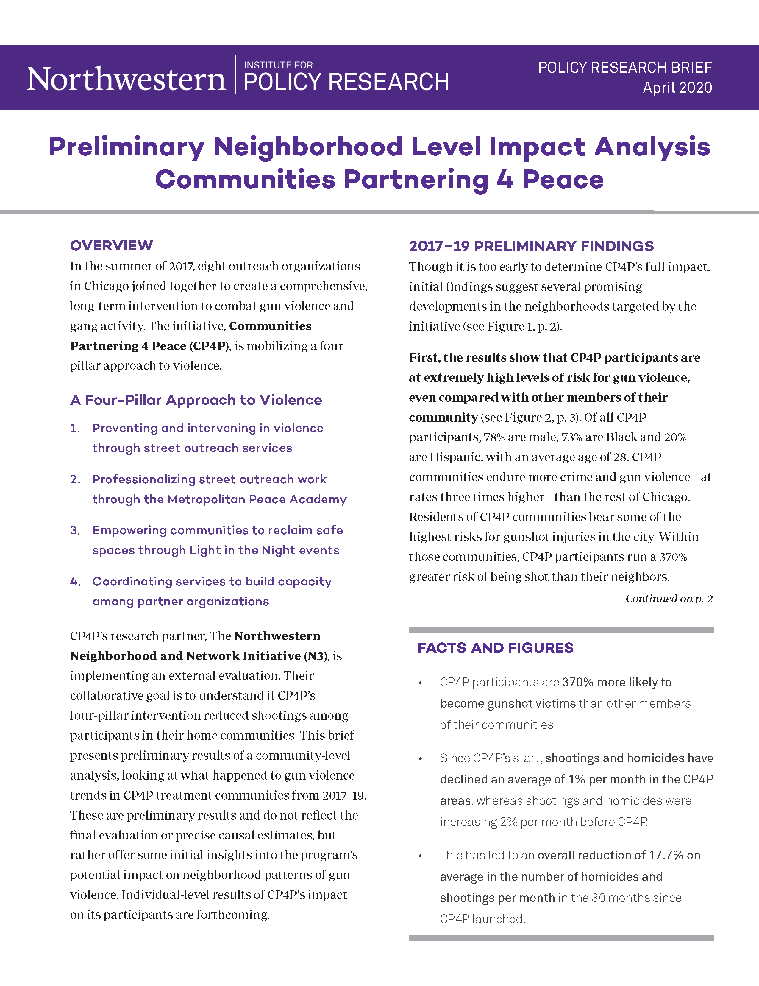 Preliminary Neighborhood Level Impact Analysis Communities Partnering 4 Peace